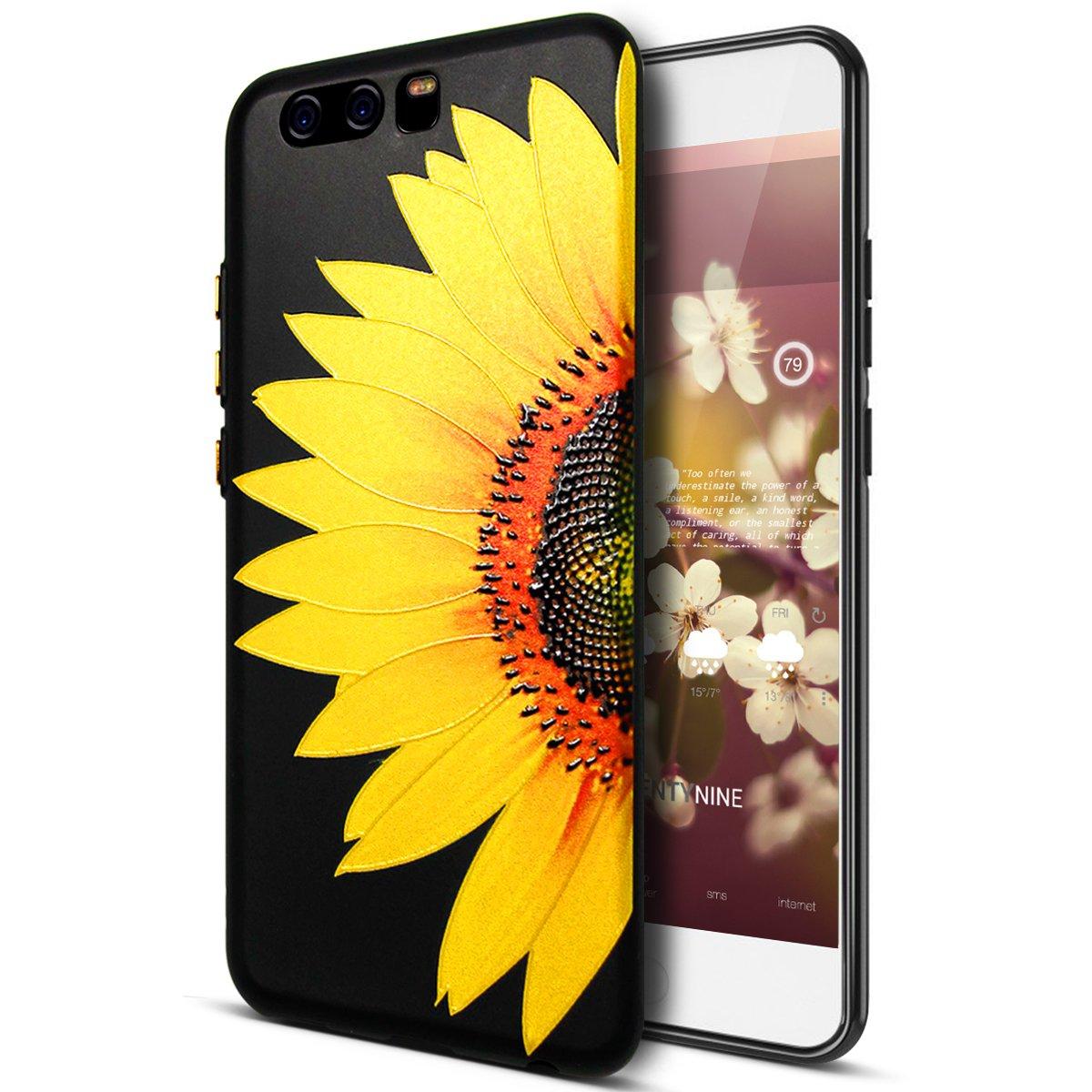 Huawei P10Plus caso, Huawei P10Plus TPU caso, ikasus 3d relief relieve colorido arte pintado patrón de flores de girasol de cerezo negro Flexible suave silicona TPU parachoques de goma protectora funda para Huawei P10Plus,