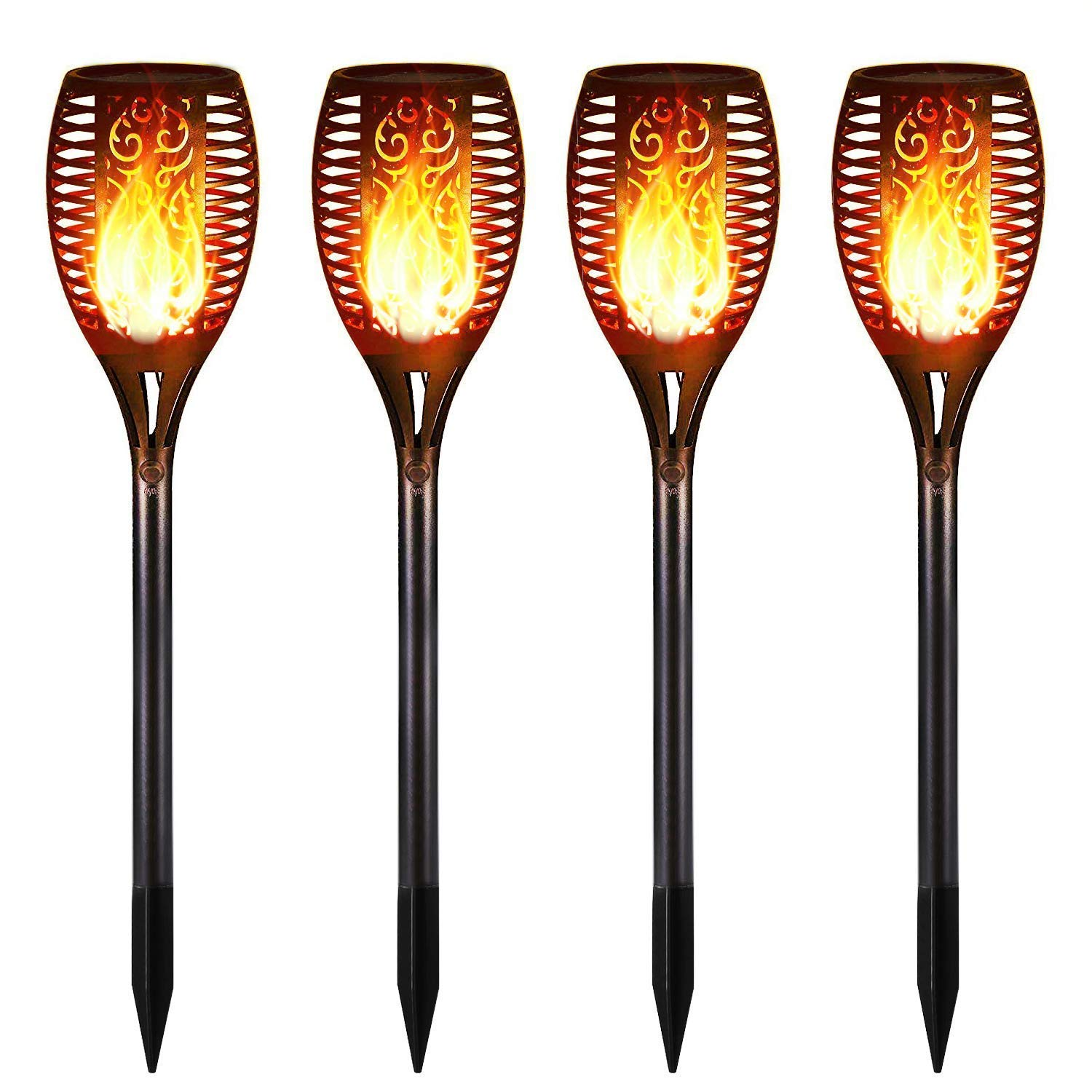 IOO Solar Torch Lights Outdoor Waterproof Dancing Flickering Flames Torches Landscape Decoration Lighting Security Path LED Light for Garden Pathways Yard Patio 4 Pack