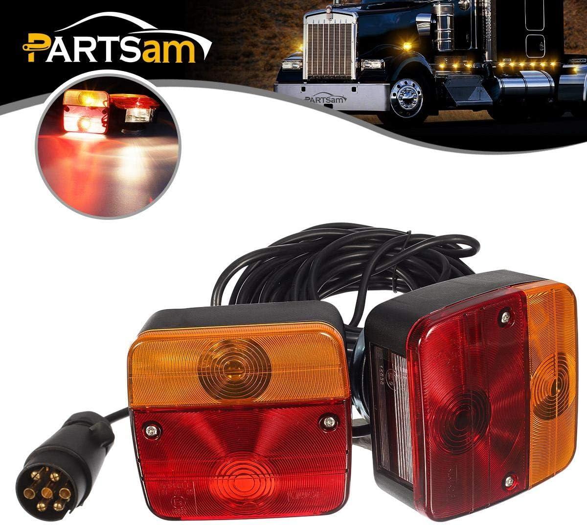 PARTSAM 2x luces traseras de remolque con cable magnético, placa de 12 V, indicador de parada de freno trasero, luz de matrícula, cable de 7,5 m con enchufe de 7 pines, con marca electrónica