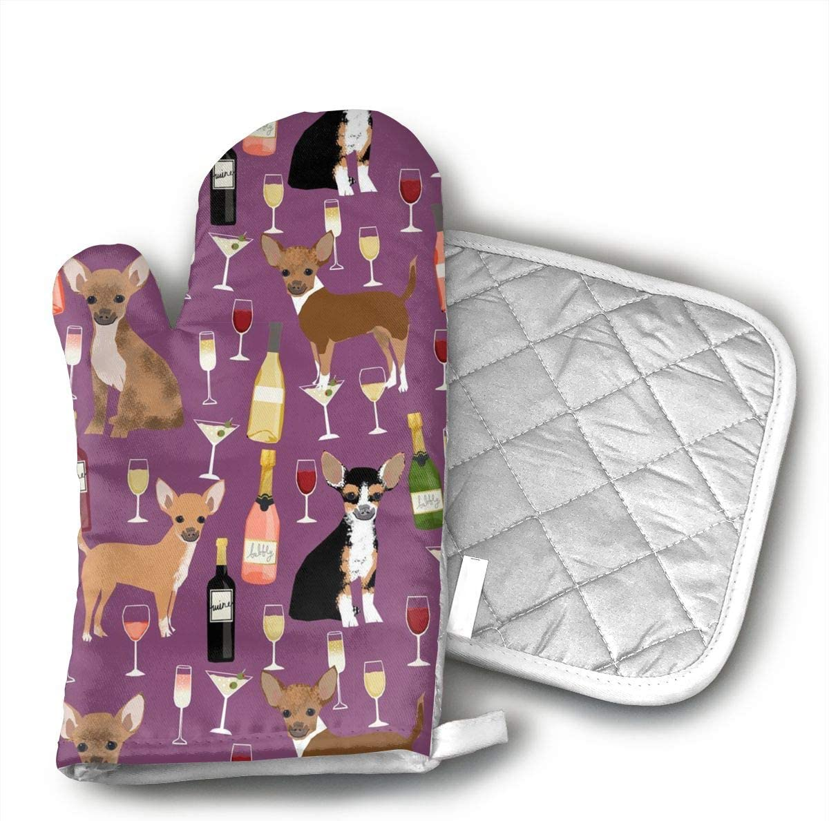 QEDGC Chihuahua Wine Champagne Cocktails Cute Dog Breed Oven Mitts Non-Slip for Home Kitchen Cooking Barbecue Microwave for Women/Men Machine Washable BBQ