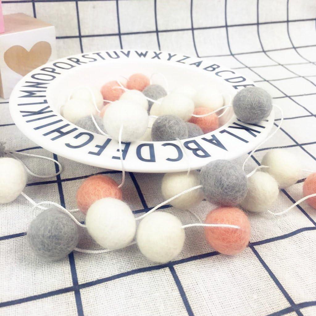 Orange Baoblaze Banderole Boule Laine Feutr/é Guirlande Suspendu D/écoration Lit de B/éb/é Chambre Enfant Blanc Gris