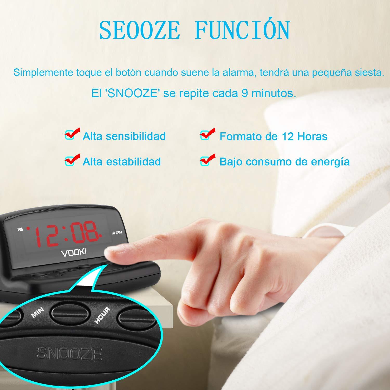 VOOKI Despertador Digital con Cable, Reloj Electrónico con Luz de Mesilla Formato de 12 Horas, Pantalla de Dígitos Rojos, Negro