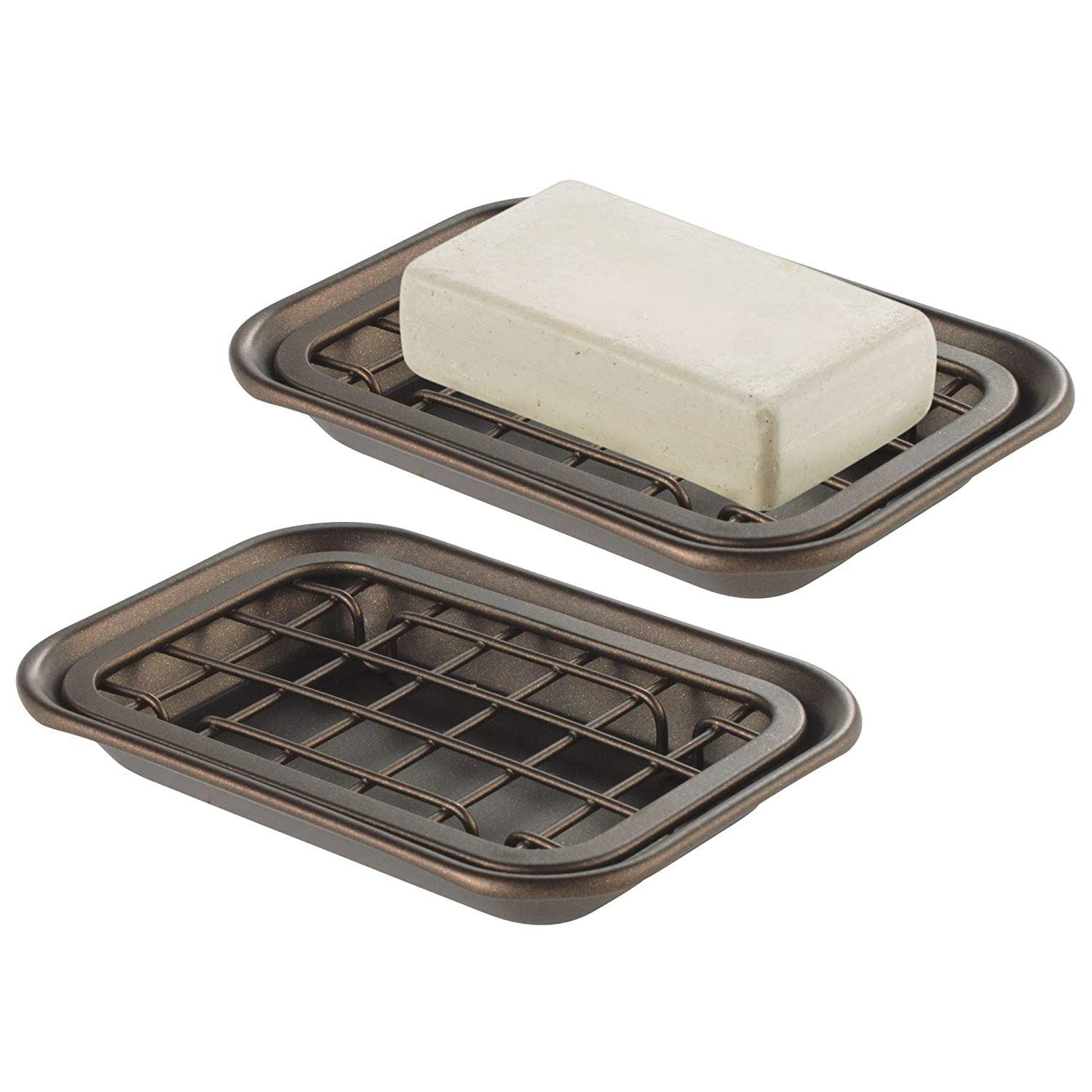 mDesign 2-Piece Soap Dish Tray for Kitchen Sink Countertops: Drainer and Holder for Soap, Sponges - Drainage Grid with Tray - Pack of 2, Rust Resistant Stainless Steel Metal in Bronze Finish MetroDecor