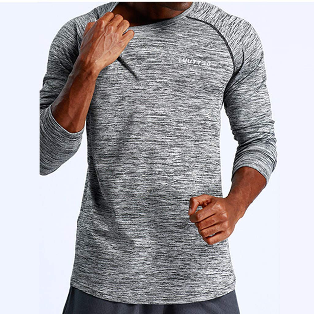 Pervobs Men's Stretchy Long Sleeve Fitness Training T-Shirt Outdoor Sports Blouse Top(2XL, Dark Gray) by Pervobs Mens T-Shirts (Image #3)