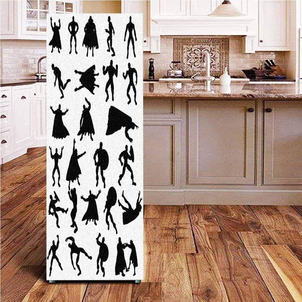 Angel-LJH Superhero 3D Door Fridge DIY Stickers,Hero Silhouettes in Different Moves Action Energy Conflict Struggle Illustration Door Cover Refrigerator Stickers for Home Gift Souvenir,24x70
