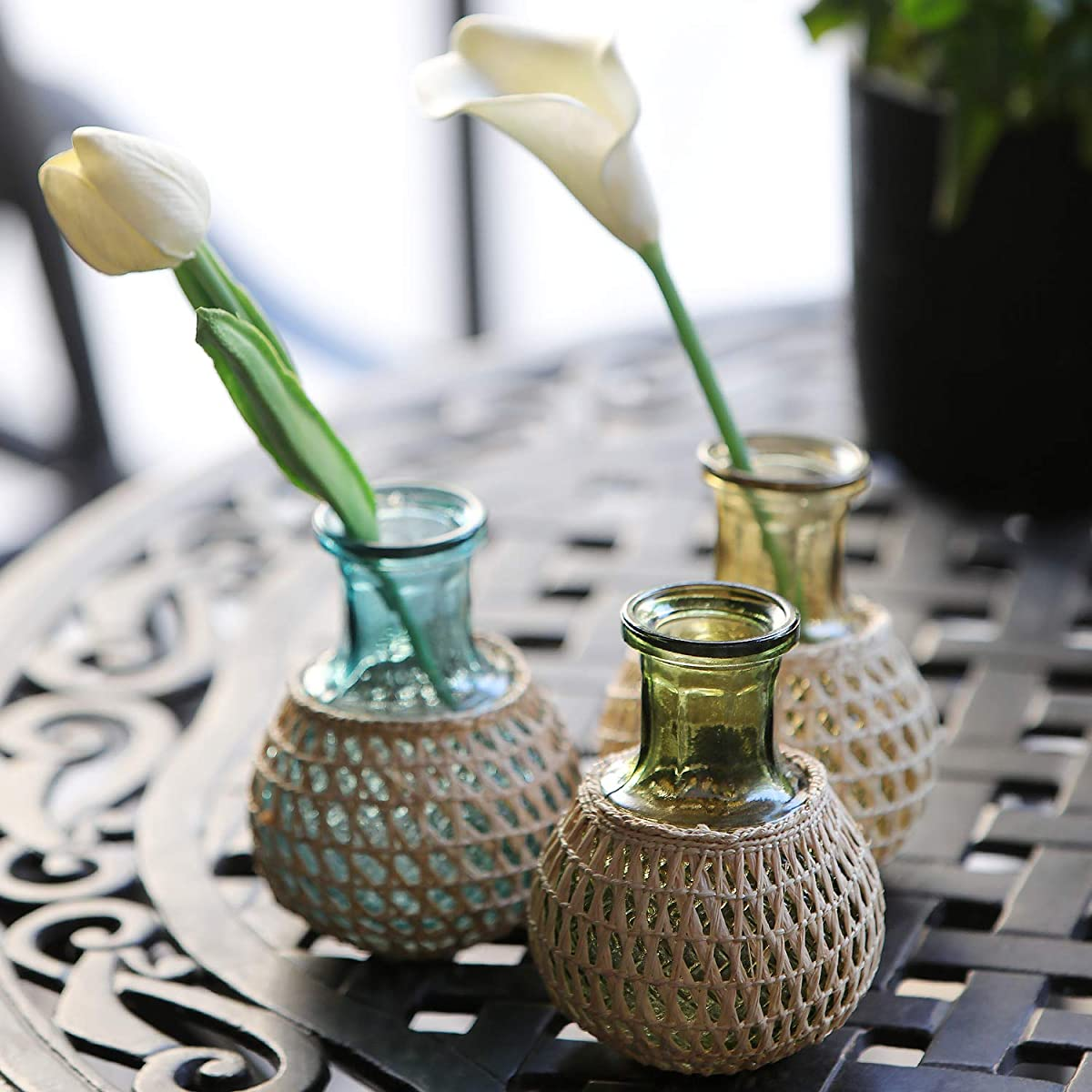 """Serral 5"""" Colorful Glass Flower Vases with Rope Design for Home Décor Living Room Office Set of 3"""
