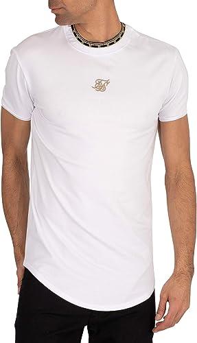 Sik Silk de los Hombres Camiseta con Cuello Redondo, Blanco: Amazon.es: Ropa y accesorios