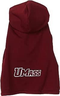 product image for NCAA Massachusetts Minutemen Cotton Lycra Hooded Dog Shirt, Tiny Maroon/White/Grey