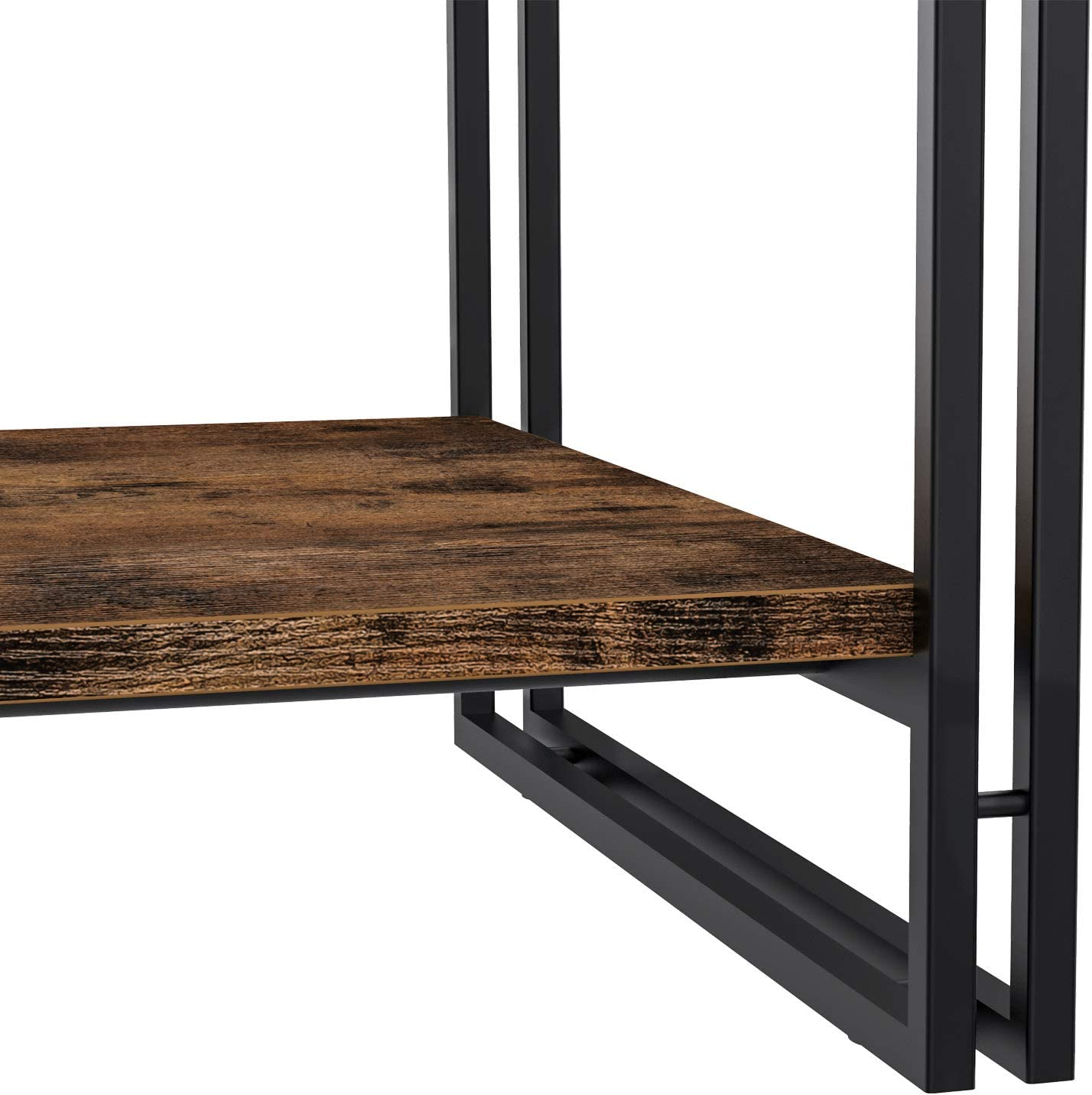 """IRONCK Industrial Coffee Table for Living Room, with 1.58"""" Thicker Tabletop, Eco-Friend Wood Look and Metal Living Room Table with Storage, Rustic Home Decor"""