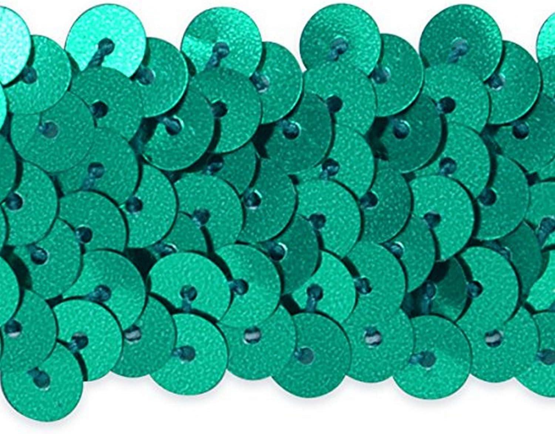 Expo International 1-1//4-Inch 3-Row Metallic Stretch Sequin Trim Embellishment Aqua Blue 20-Yard