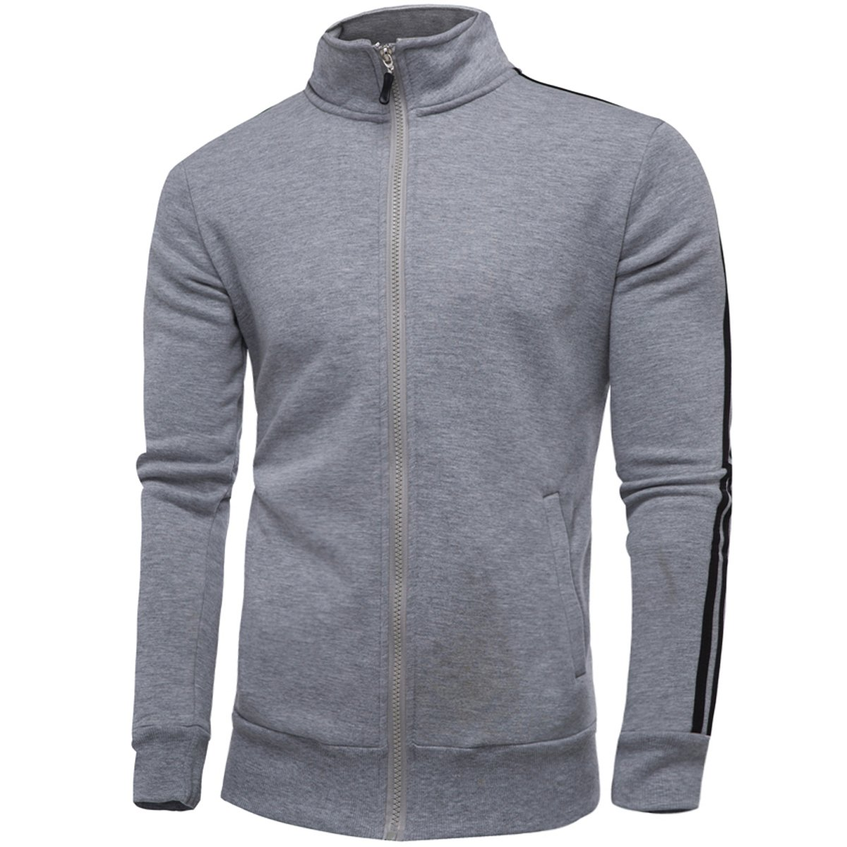YFFUSHI Mens Casual Jogging Full Zip Sports Long Sleeve Jacket Active Training Basic Designed
