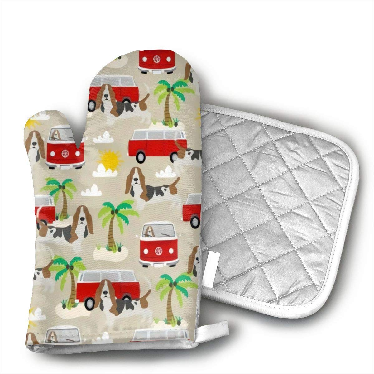 CHFSTi Oven Mitts Basset Hound Dog Beach Bus Hippie Bus Palm Trees Non-Slip Silicone Oven Mitts& Pot Holders, Heat Resistant to 500Fahrenheit Degrees Kitchen Oven Gloves