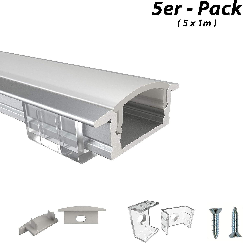 Rabando - Juego de 5 perfiles de Aluminio para Tiras LED de 12 mm con Cubierta de ópalo, 5 m: Amazon.es: Hogar