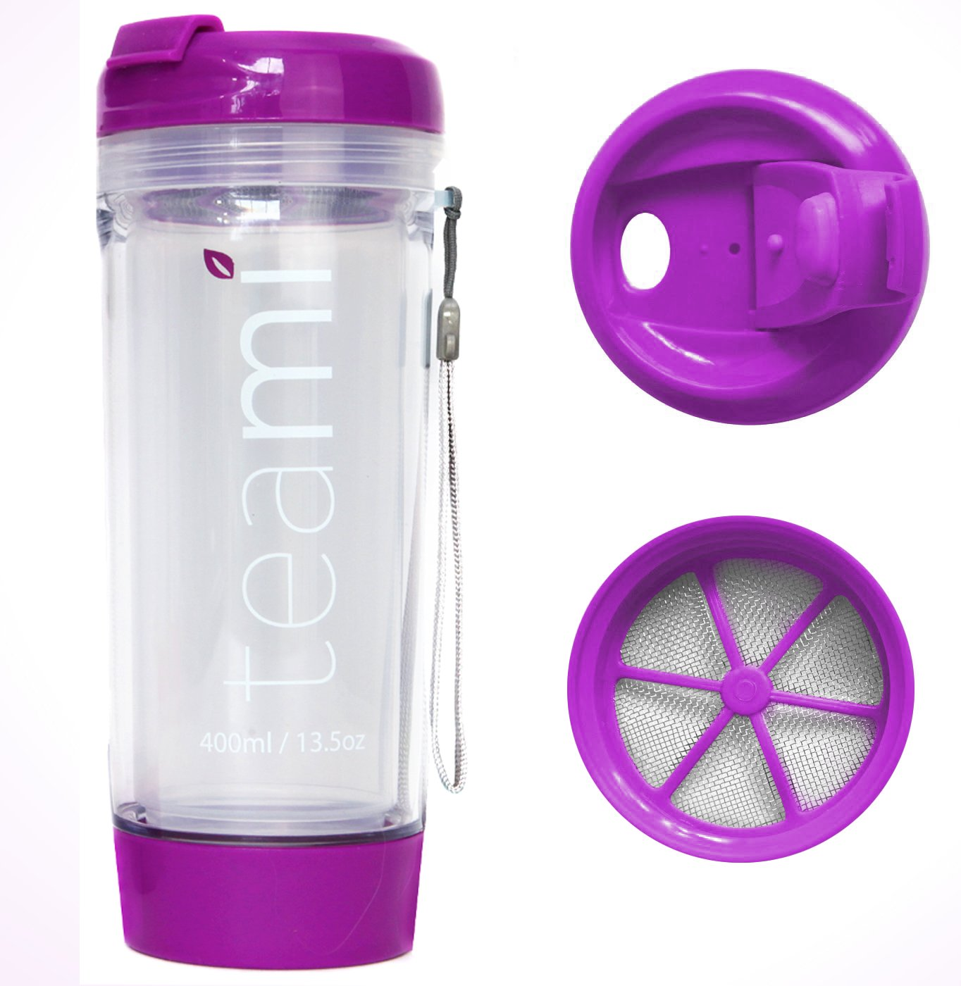 FRUIT INFUSER Water Bottle Tumbler with a Lid | 100% BPA FREE | Our Best Infusion Bottles for Infused Fruit, Smoothies, Tea, and Coffee | Double Walled Mug, Hot & Cold (13.5 Ounces, Purple)