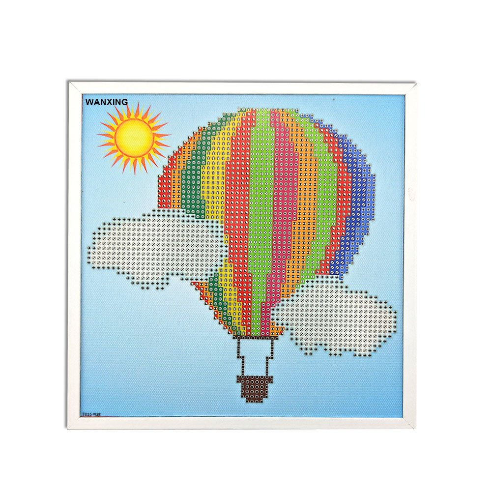 DIY Diamond Paiting for Children with Frame Child's Paint by Number Kits Arts Crafts for Home Wall Decor Gift (hot air ballon)