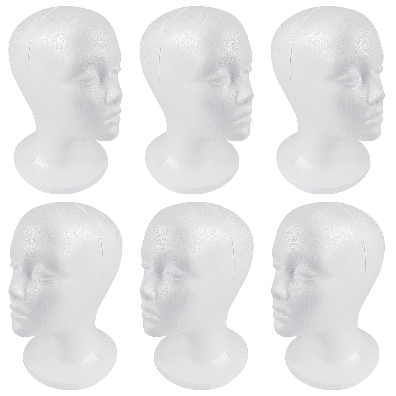 SHANY Styrofoam Model Heads/Hat Wig Foam Mannequin/Half Dozen Jumbo Pack SH-FOAMHEAD-6PC