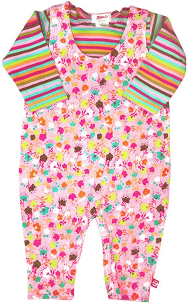 Baby Girls Pink Zutano Fisco Spray Overalls