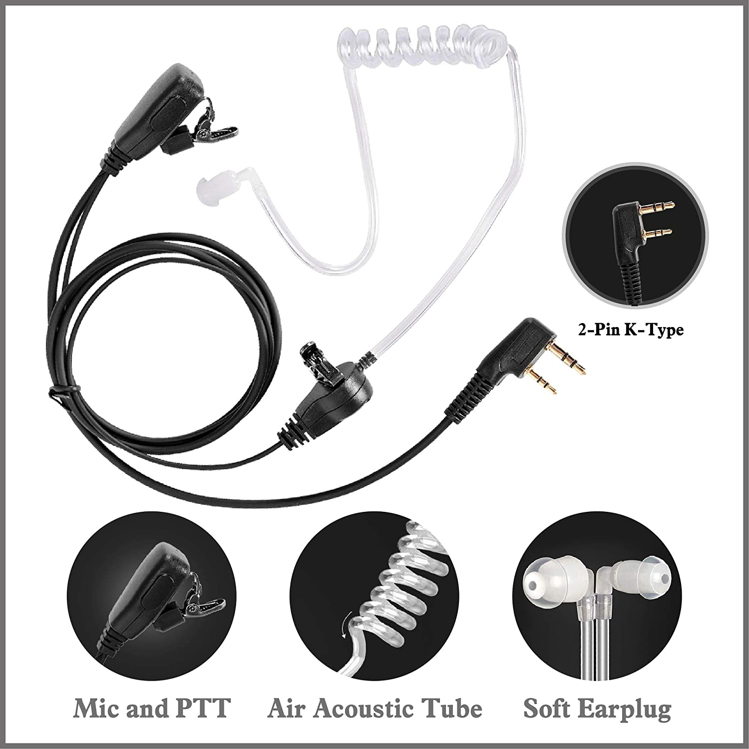 Covert Air Acoustic Headset with PTT for 2-Pin K-Type Walkie Talkies Sanzuco Coil Tube Audio Kit with Basic Earbuds for Retevis Kenwood BaoFeng Two-Way Radios 2 Pairs