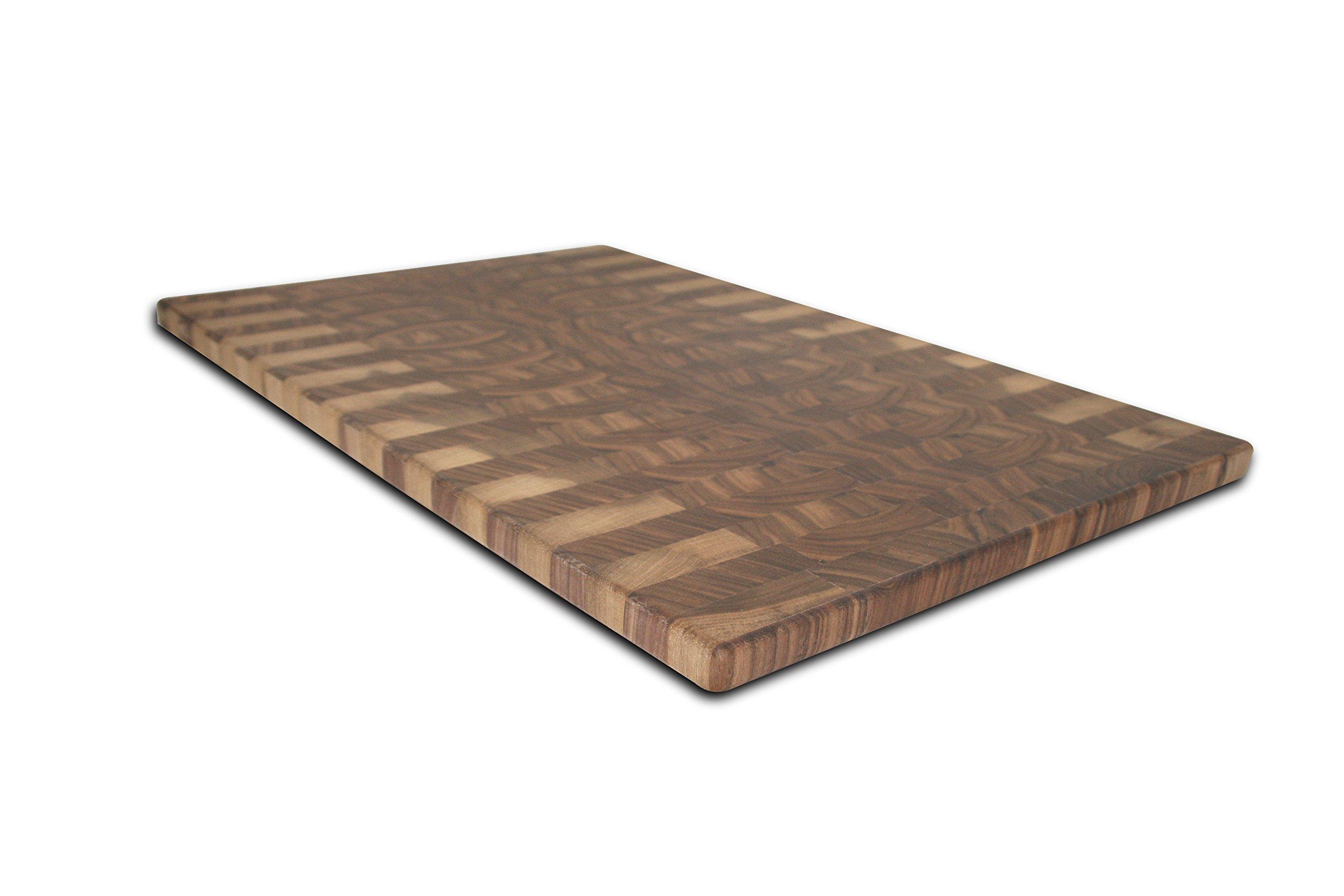 Top Chop Butcher Block Premium Reversible End Grain Cutting Board, Walnut, 20'' x 18'' x 3/4''