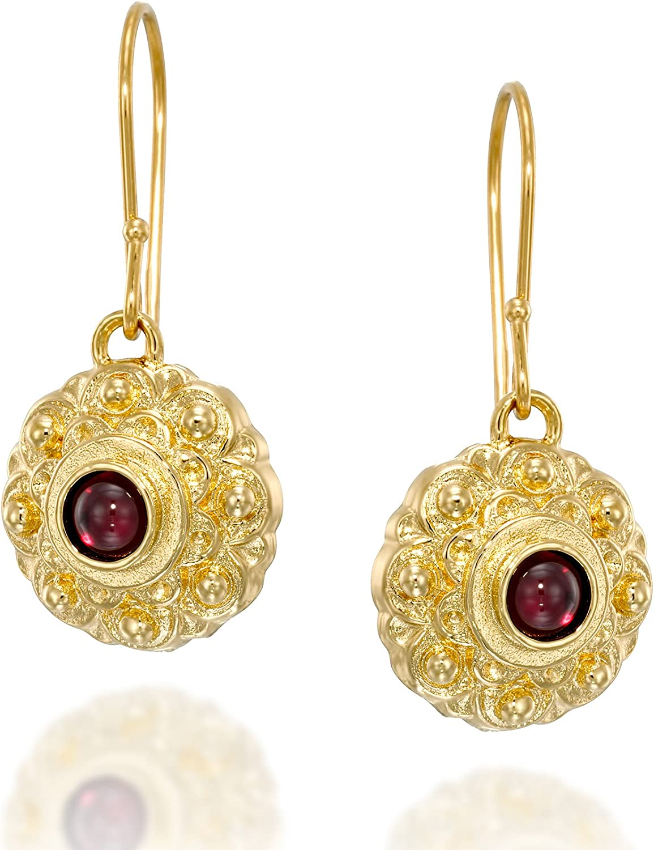 Pendientes colgantes de plata de ley chapada en oro de 14 quilates con piedras preciosas de estilo antiguo