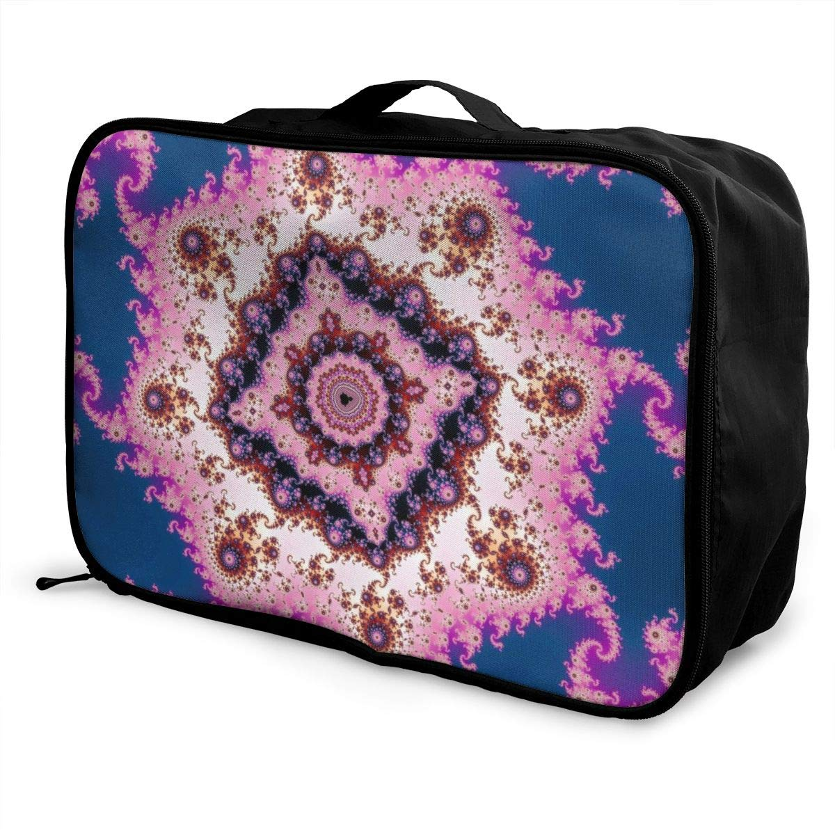 Sacred Geometry Fractals Pink Navy Travel Lightweight Waterproof Foldable Storage Portable Luggage Duffle Tote Bag Large Capacity In Trolley Handle Bags 6x11x15 Inch