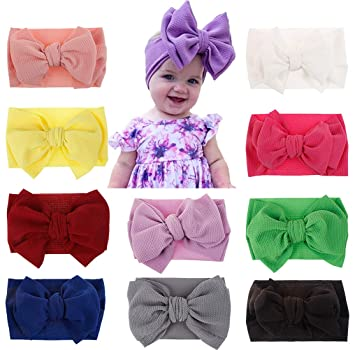 Baby Girl Elastic Knitted Headbands Infant Toddler Knotted Hairbands Bows