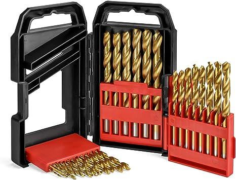 WORKPRO 29 Pcs Juego de Brocas para Metal Madera Broca Helicoidal Titanio Avanzada HSS Estuche de Almacenamiento de ABS: Amazon.es: Bricolaje y herramientas