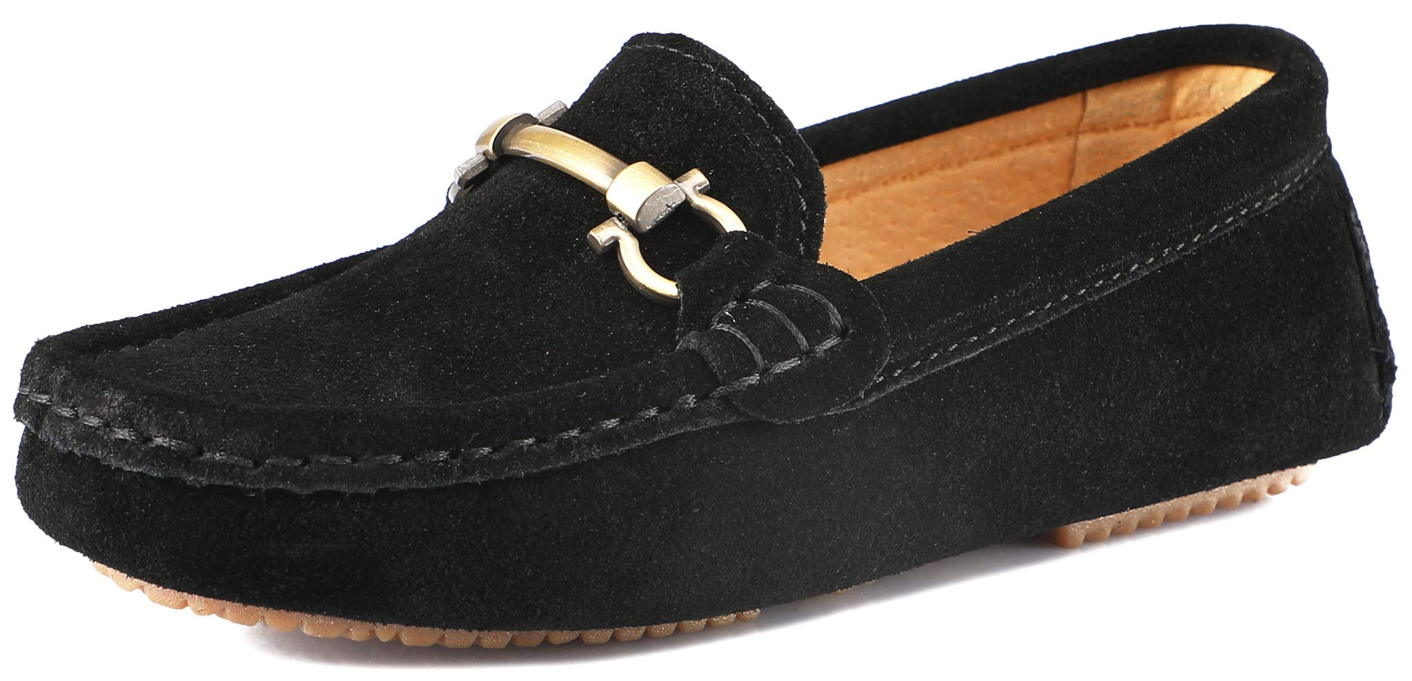 SKOEX Boy's Suede Loafers Slip On Boat Shoes US Size 10 Black(Suede)