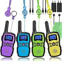 Wishouse Walkie Talkie Niños Bateria Recargable con 2 Cargadores USB, Adultos Walky Talky 4 Piezas Largo Alcance…
