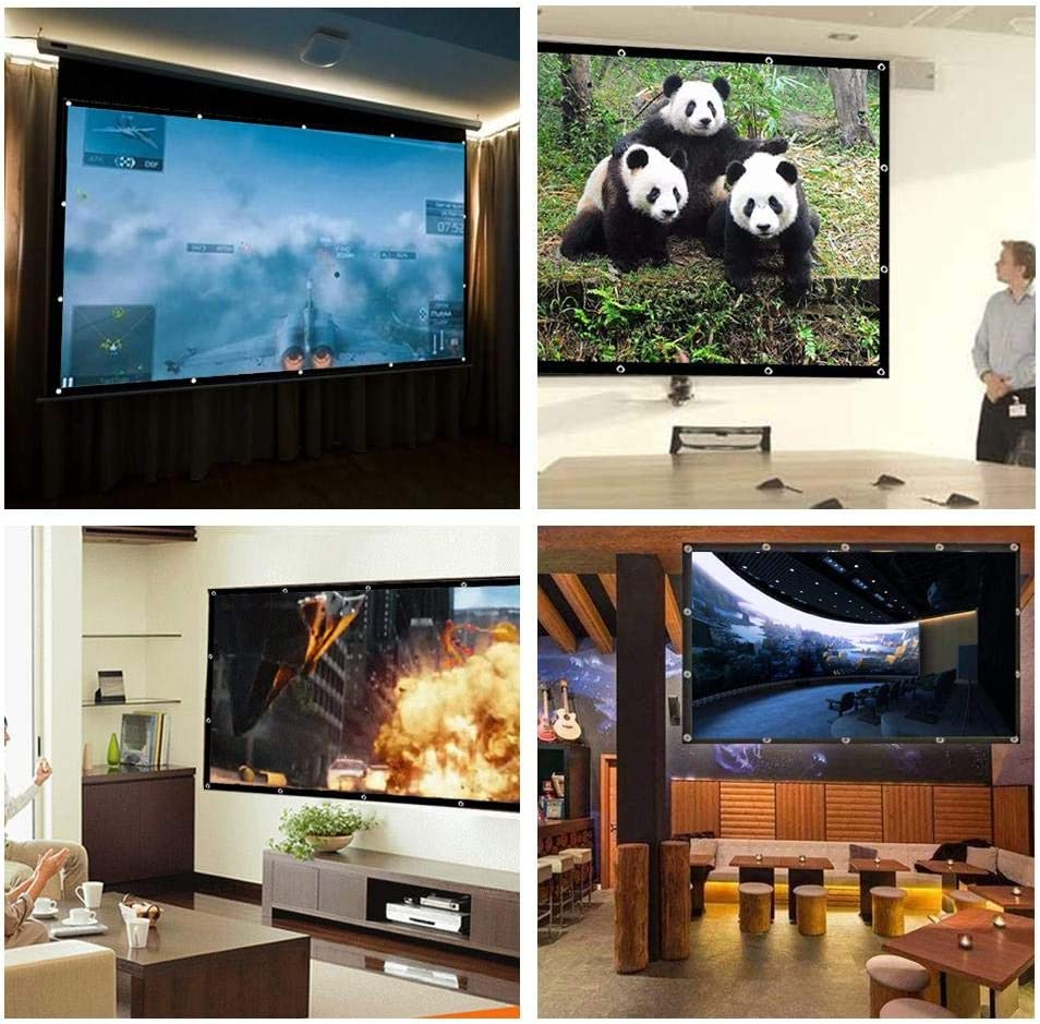 Joojun Pantallas de proyección de 150 Pulgadas 16: 9, Pantalla de Cine del proyector para la Oficina Interior al Aire Libre del hogar: Amazon.es: Hogar
