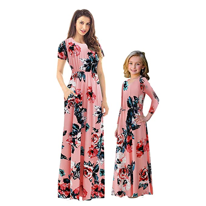5372f6e58fd14 MAKARTHY Mommy and Me Dresses Womens Summer Short Sleeve Boho Floral Maxi  Dresses with Pockets