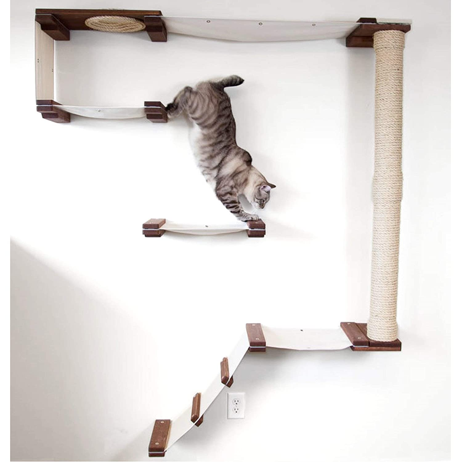 English Chestnut   Natural CatastrophiCreations Cat Mod Climb Track Handcrafted Wall Mounted Cat Tree Shelves, English Chestnut Natural, One Size