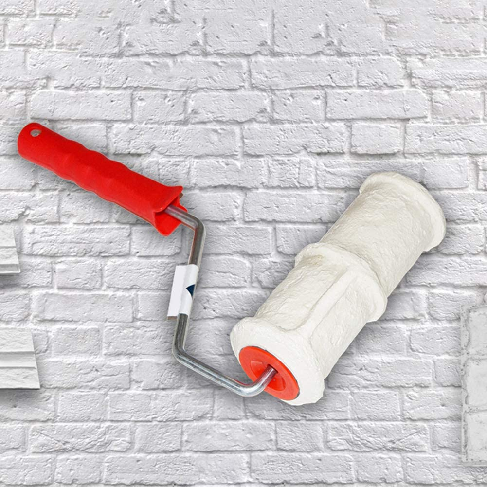 rouleau de peinture murale en caoutchouc portable avec poign/ée rouleau /à peinture murale Tongdejing Rouleau de gaufrage en brique pour d/écoration murale pinceau de 8 cm