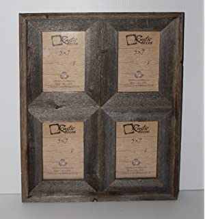 5x7 25 wide reclaimed rustic barnwood collage photo frame holds 4 photos