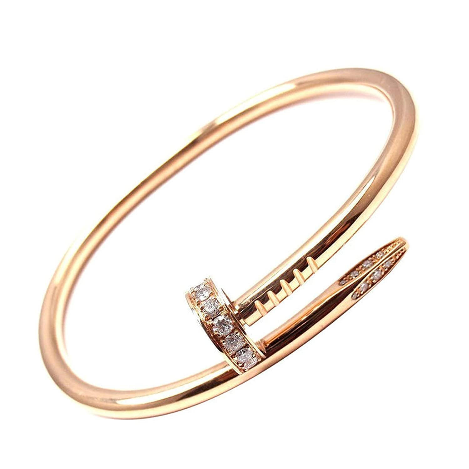 L& H Jewelry - Women's Gold Color Stainless Steel Nail Love Bangle Bracelet with CZ Inlaid Box Included LXLP B06XFJR7CB_US
