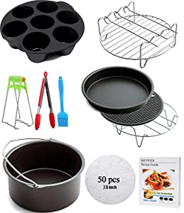Ptsaying Air Fryer Accessories 10 sets +20cookbook, air fryer basket baking pan,For Phillips, Gowise Universal XL power Air Fryer Accessory Kit Fit All 3.5QT-3.7QT 5.3QT-5.8QT, -7 Inch