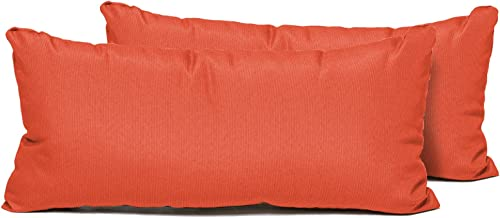 TK Classics Rectangle Outdoor Throw Pillows, Set of 2, Tangerine