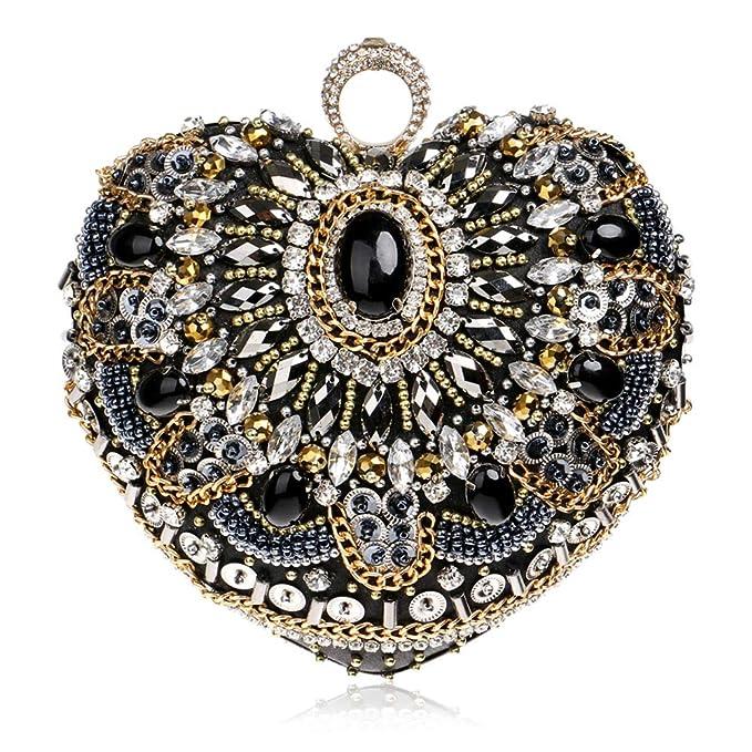 YYDDT Mujer Bolsa De Embrague Diamante De Imitación Cristal Misterioso Joya Hecho A Mano Amor Titular