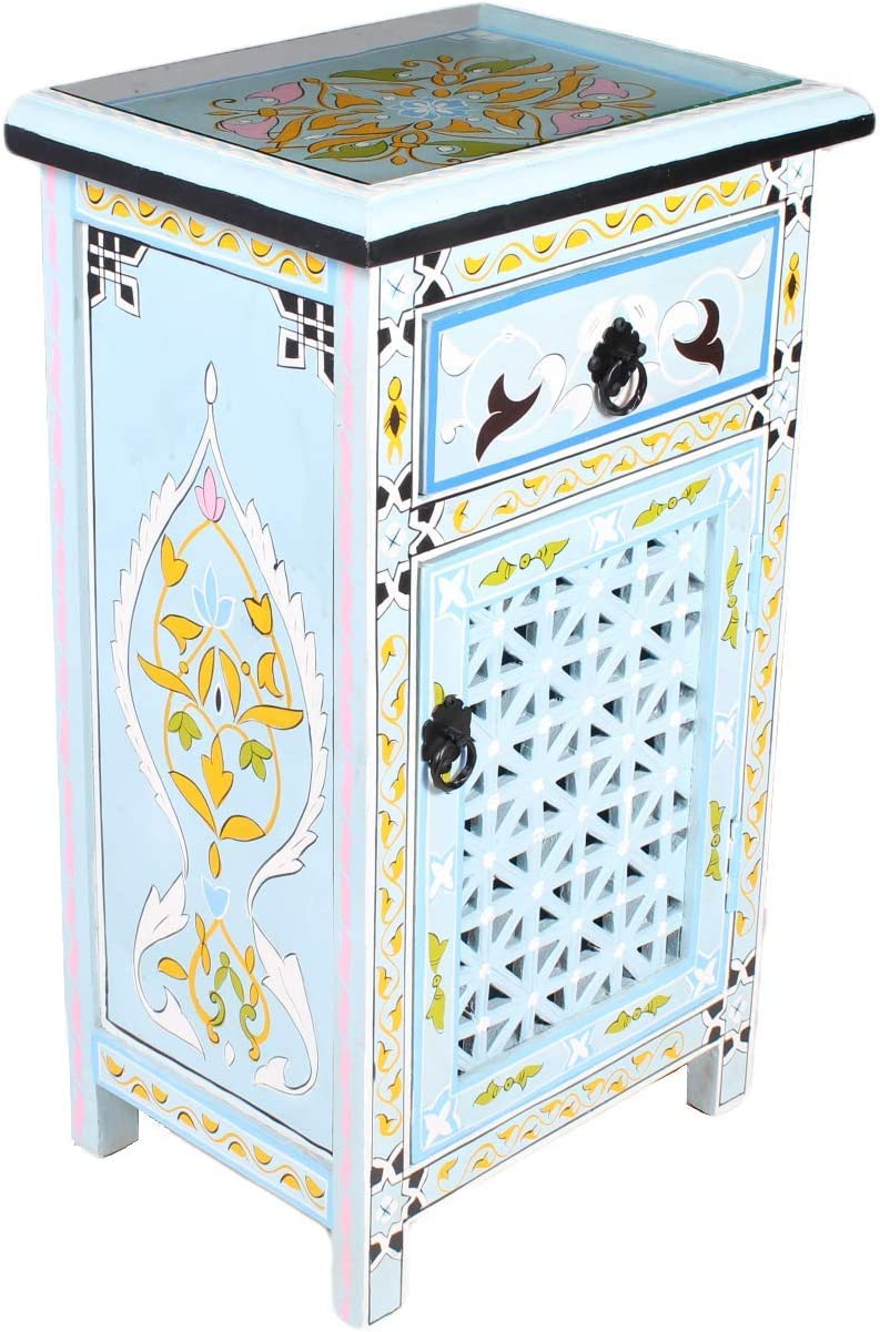 Moroccan Turquoise Nightstand Table Arabic Design with Glass Top