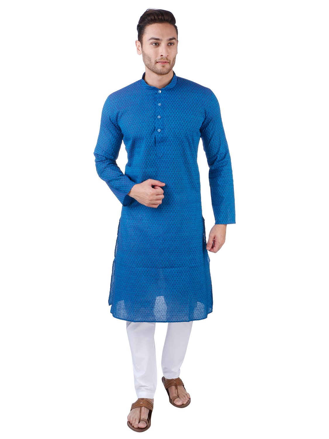 Rajubhai Hargovindas Men's Woven Floral Design Handloom Cotton Kurta