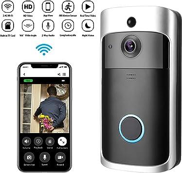 Timbre de Video Inalámbrico,Zeonetak IP65 Impermeable Video HD con Audio bidireccional,Detección de Movimiento PIR de Gran Angular de visión Nocturna de 166 °,WiFi, Control App para iOS Android: Amazon.es: Bricolaje y herramientas