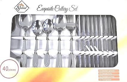 Shine Juego de Cubiertos de Acero Inoxidable de Lujo, Cuchara, Tenedor para Cocina Moderna