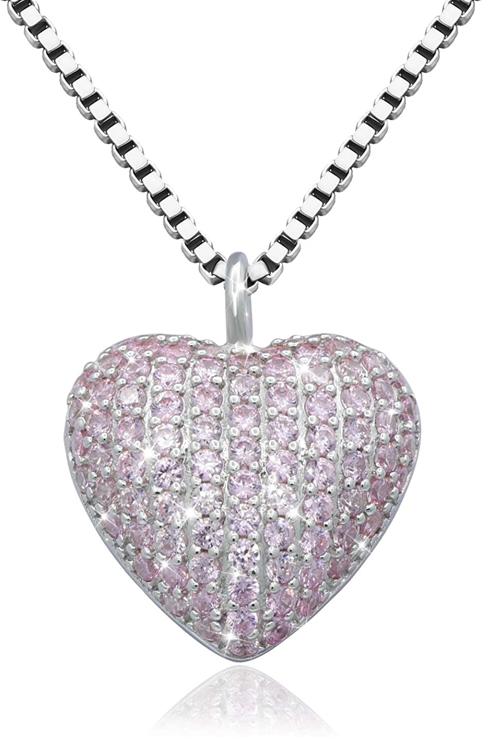 ACJFA Sterling Silver Urn Pendant Jewelry CZ Heart Cremation Necklace for Ashes - Forever in My Heart