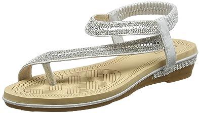 cd5100077cc3 Quiz Women s Diamante Slant Strap Flat Sandals Ankle (Silver 00)