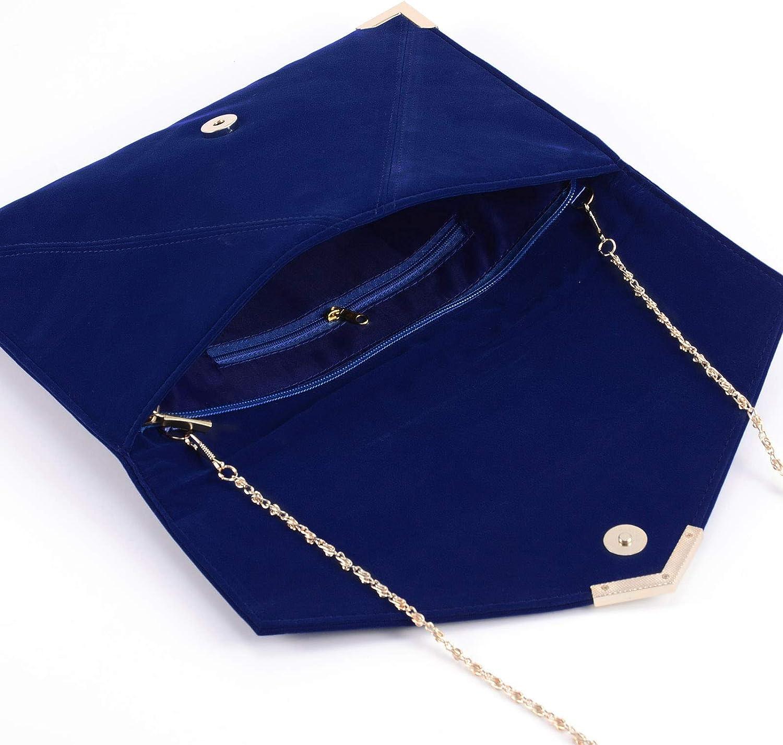 Suede Velvet Clutch Evening Bag Wedding Envelope Bag Prom Party Handbag Golden Trim