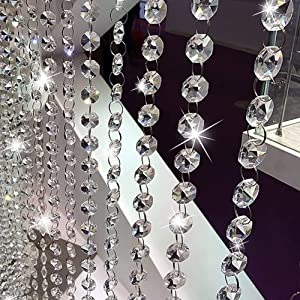 32.8Ft Crystal Beads Chain, Clear Crystal Garland Chandelier Octagon Beads Glass Crystal Chandelier Beads Lamp Chain, K9 Crystal, Not Acrylic, Not Plastic