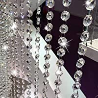 16.4Ft Crystal Beads Chain, Clear Crystal Garland Chandelier Octagon Beads Glass Crystal Chandelier Beads Lamp Chain, K9…