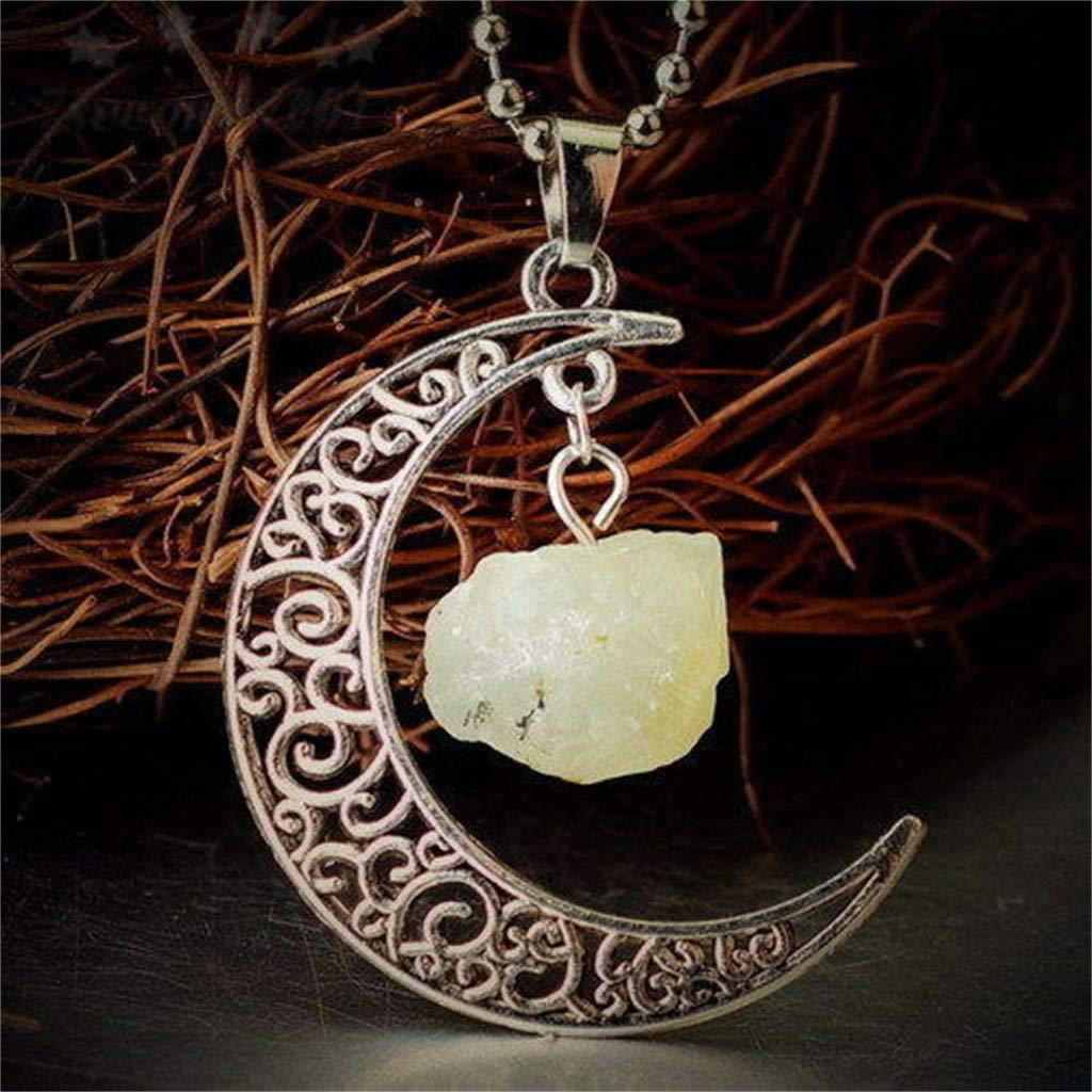 Rakkiss Hollow Crescent Necklace Pendant Quartz Crystal Pendant Chakra Healing Gemstone Moon Necklace Jewelry