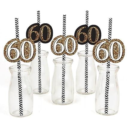 Amazon.com: Adultos Cumpleaños 60th – Oro – Pajitas De Papel ...