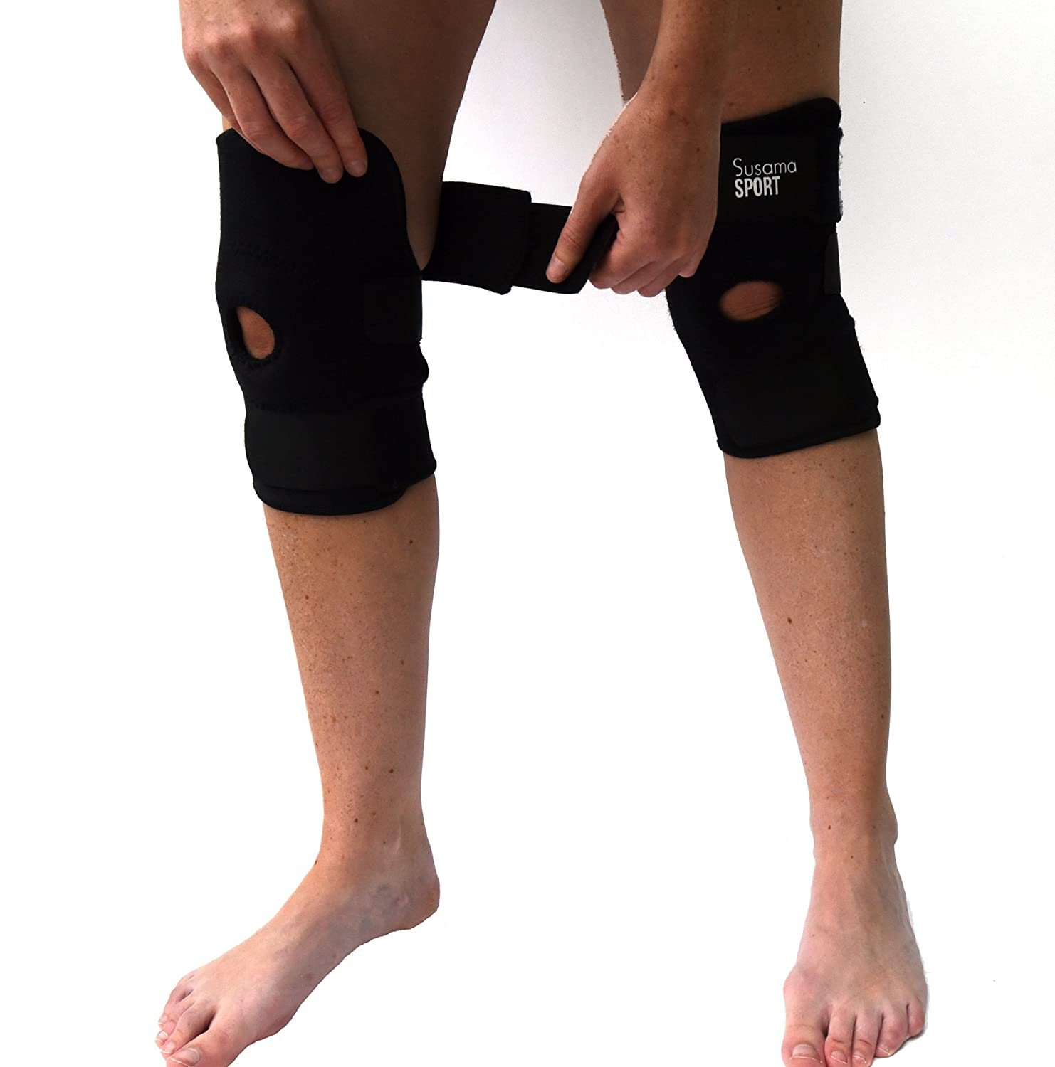 2 Susama Knee Braces – 1 Size Fits All - Breathable Neoprene Knee Support - Open Patella...